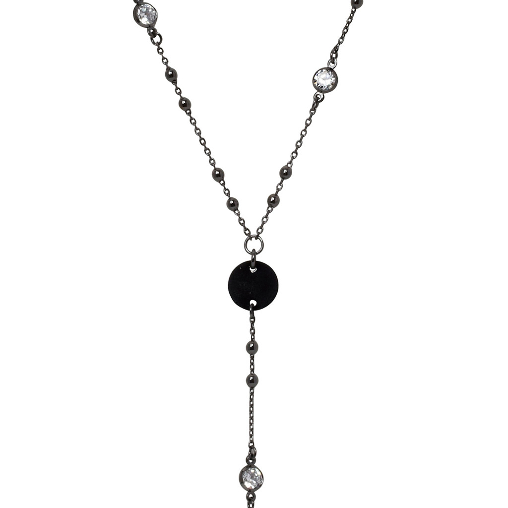 Gunmetal Plated Amy Necklace Close Up Detail
