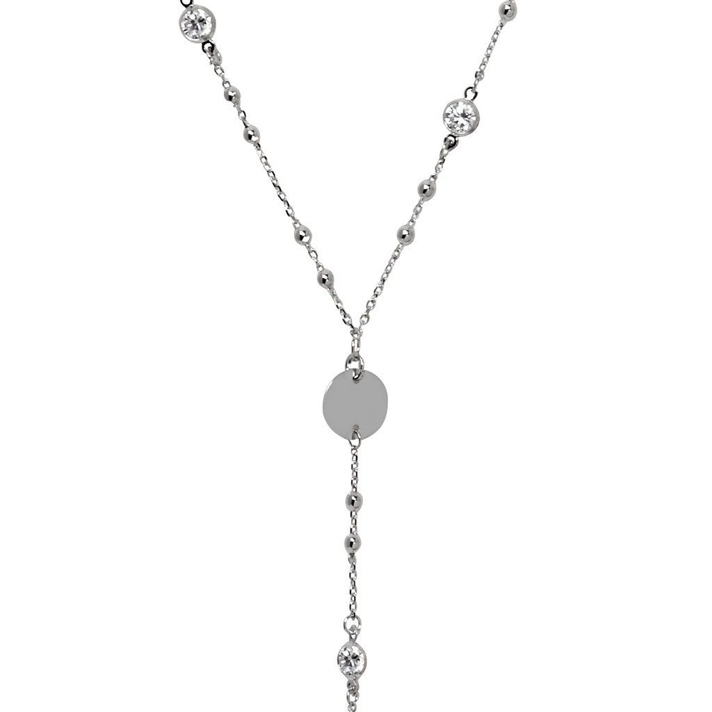Rhodium Plated Amy Necklace Close Up Detail