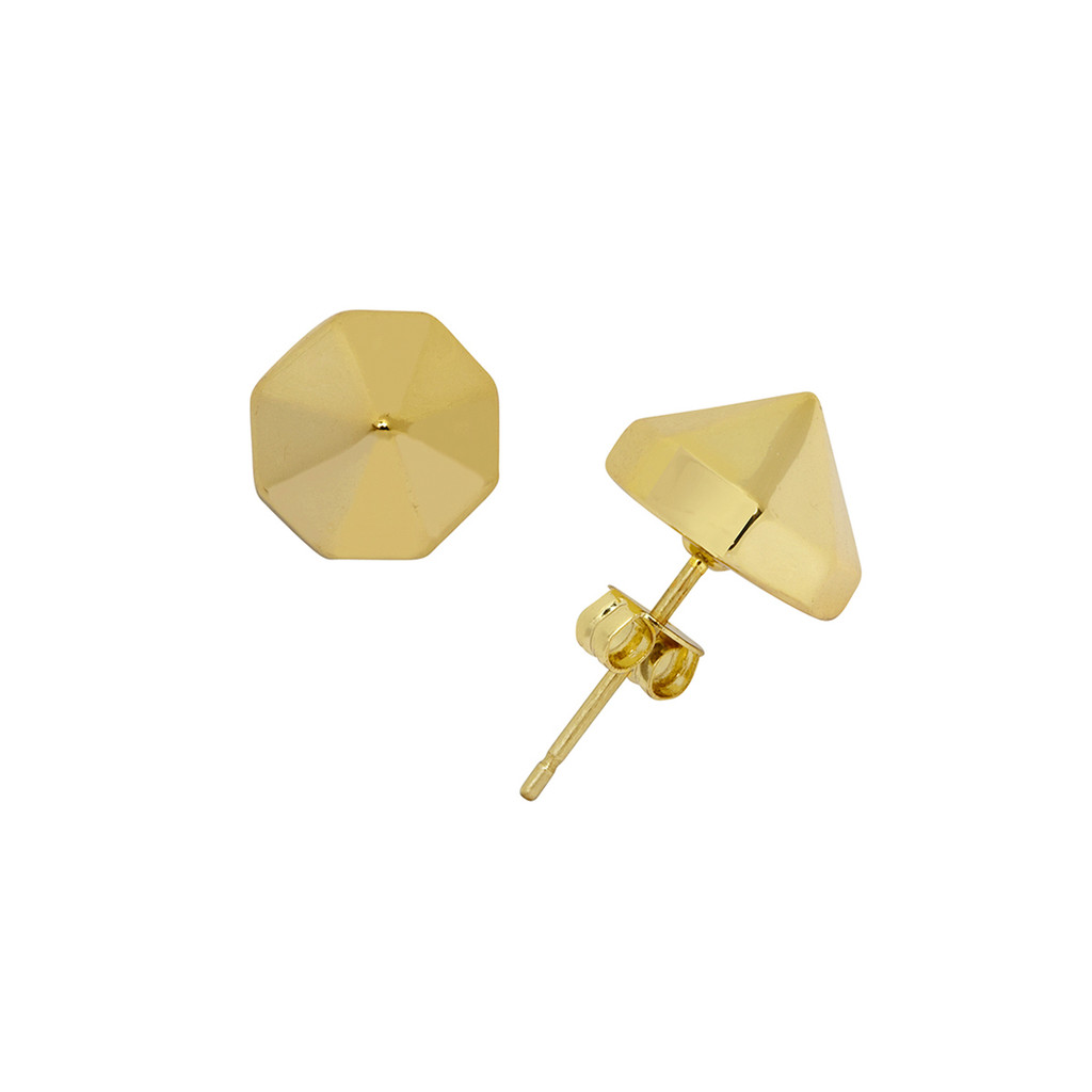 Yellow Gold Plated Spike Stud Earrings