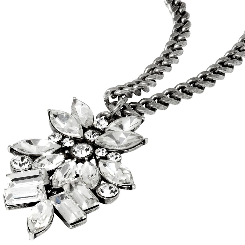 Antique Rhodium Plated Monaco Necklace Close Up Detail