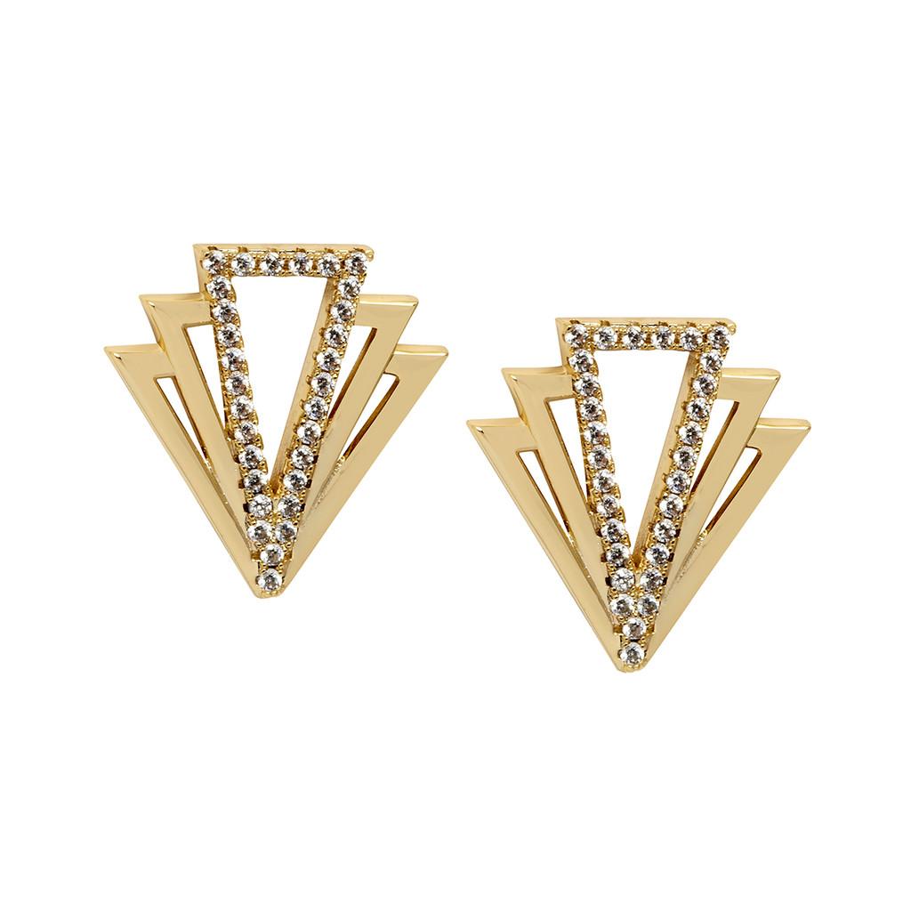 Yellow Gold Plated Small Tatum Earrings
