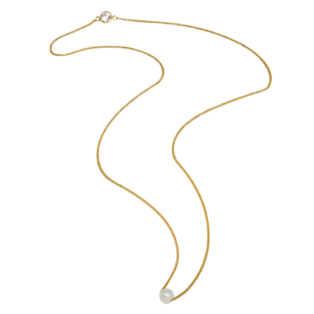 Yellow Gold Plated Ansley Necklace Pearl Side