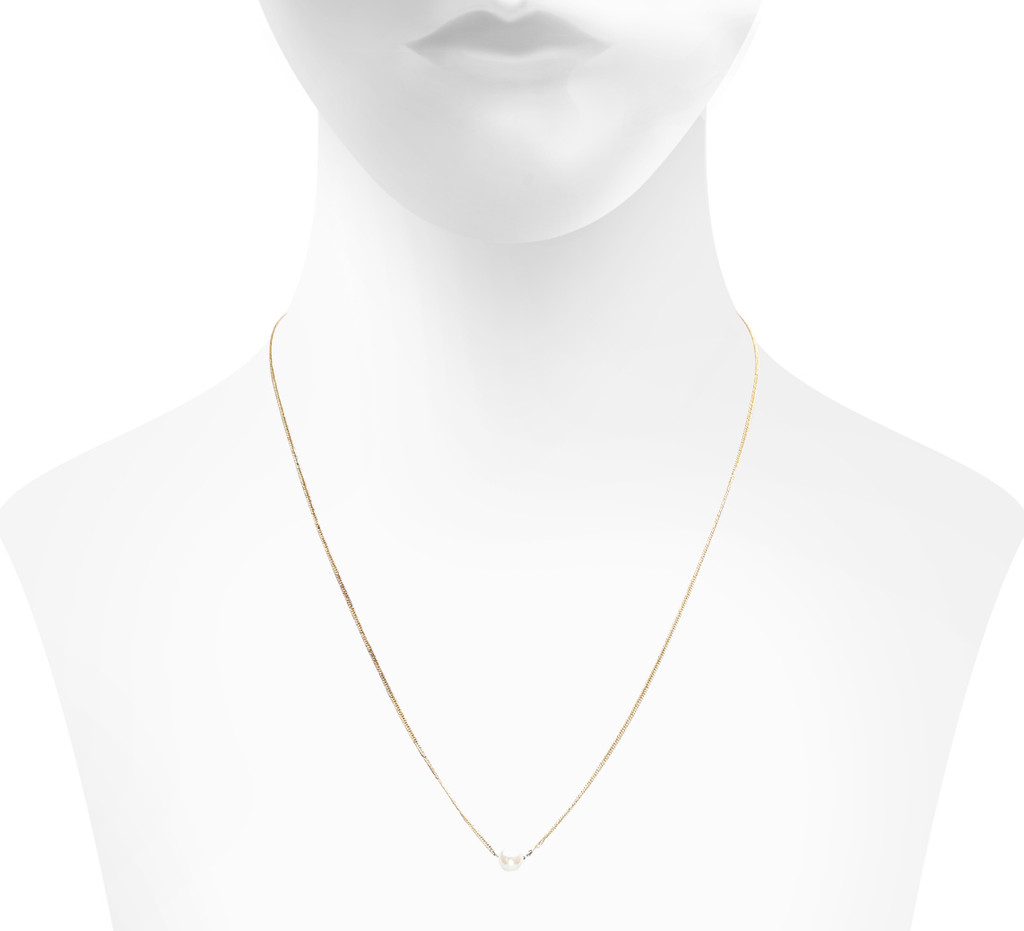 Yellow Gold Plated Pearl Side Shown on Neck