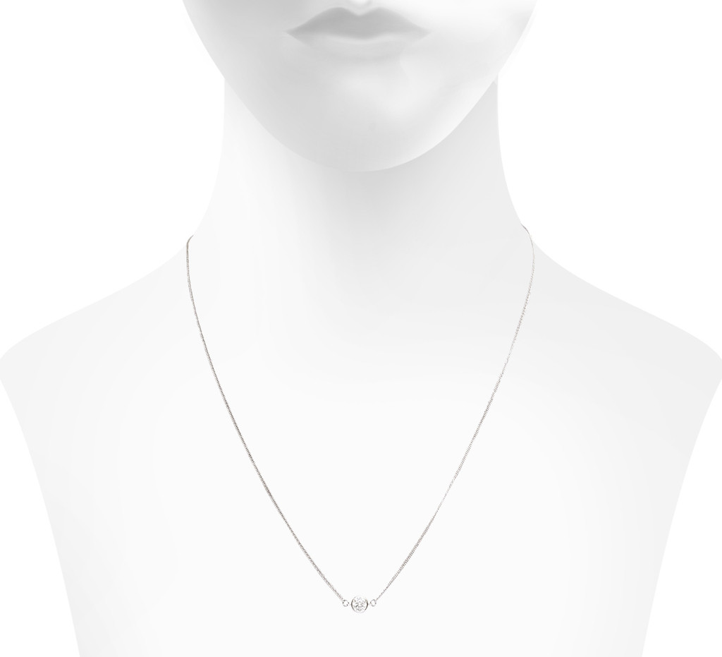 Rhodium Plated Ansley Necklace Crystal Side Shown on Neck