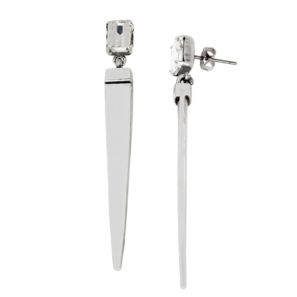 Antique Rhodium Plated Asscher Cut Spike Drop Earrings