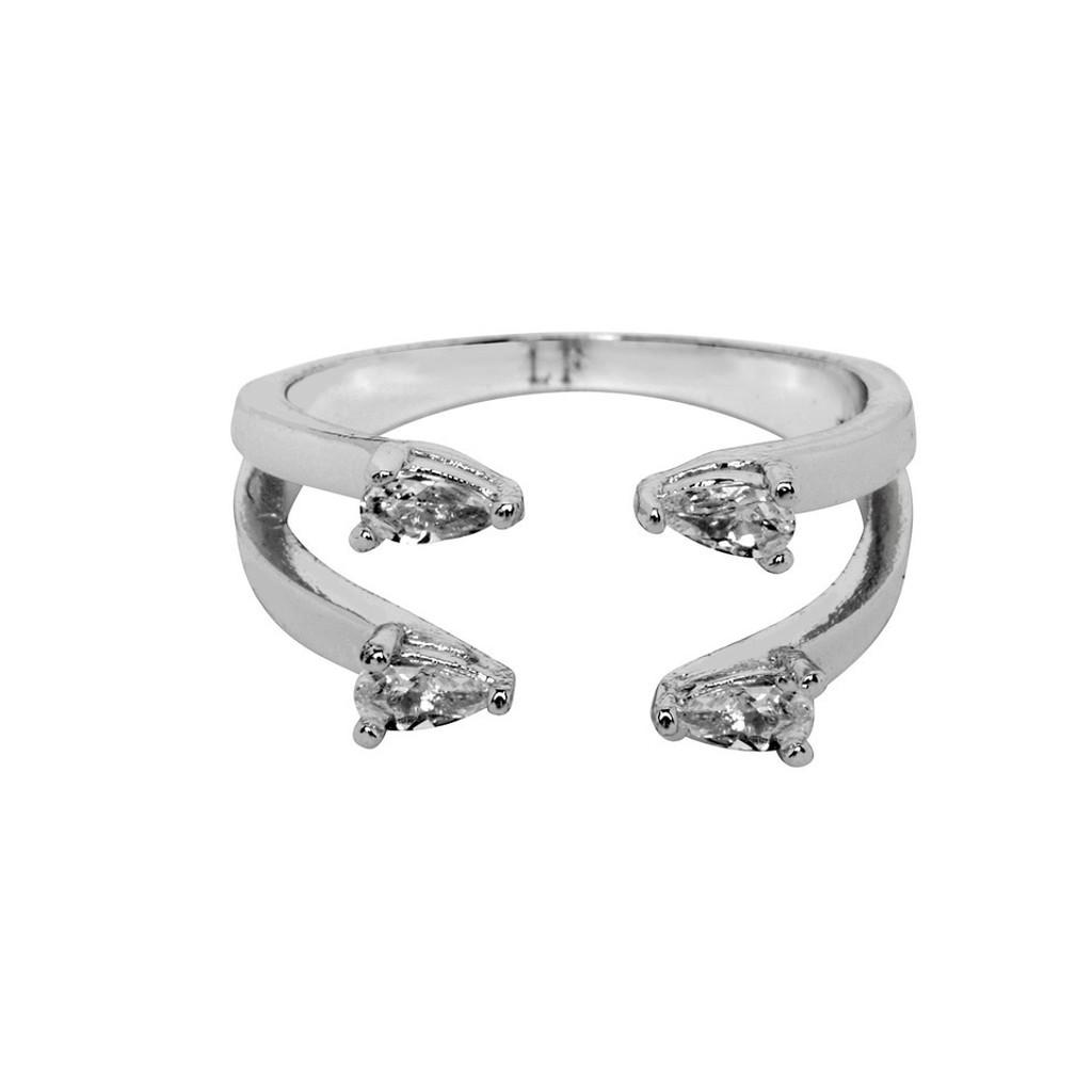 Rhodium Plated 2 Line Ava Ring