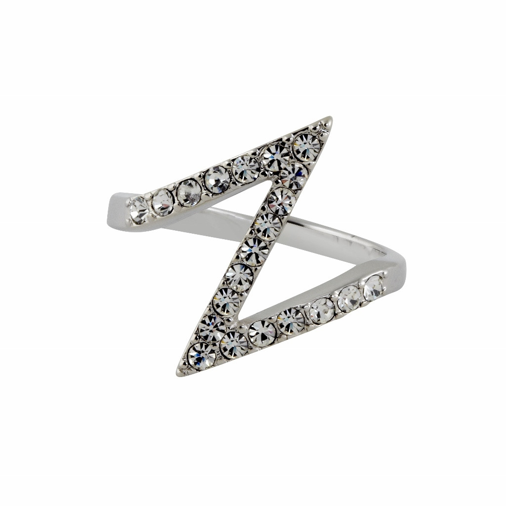 Rhodium Plated Bowie Ring