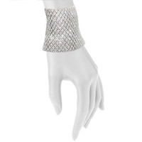 Rhodium Plated Crystal Lace Cuff Shown on Arm