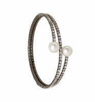 Gunmetal Plated 2 Line Crystal Wrap Bracelet with Large Pearls