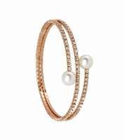 Rose Gold Plated 2 Line Crystal Wrap Bracelet with Large Pearls