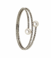 Rhodium Plated 2 Line Crystal Wrap Bracelet with Large Pearls