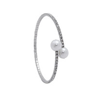 Rhodium Plated 1 Line Crystal Wrap Bracelet with Large Pearls