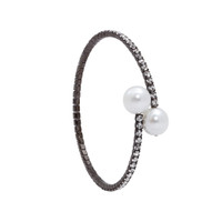 Gunmetal Plated 1 Line Crystal Wrap Bracelet with Large Pearls
