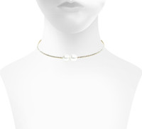 Yellow Gold Plated Double Pearl Stretch Choker Shown on Neck