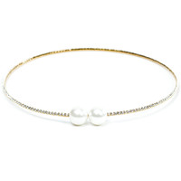Yellow Gold Plated Double Pearl Stretch Choker