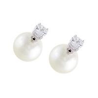 Rhodium Plated Pearl Morgan Earrings