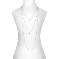 Rhodium Plated Trinity Necklace Shown on Neck