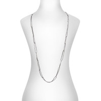 Gunmetal Plated Chevron Necklace with All Crystal Links Shown on Neck