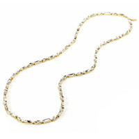 Yellow Gold Plated Alternating Baguette & Marquise Necklace