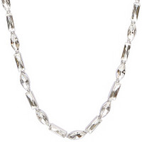 Rhodium Plated Alternating Baguette & Marquise Necklace Close Up Detail