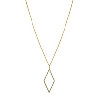 Yellow Gold Plated Micro Pave Open Diamond Necklace