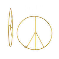 Yellow Gold Plated Large Peace Threader Hoop Earrings