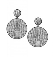 Gunmetal Plated/Clear Micro Pave Disc Drop Earrings