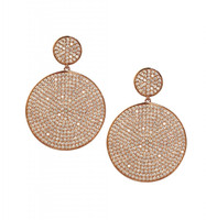 Rose Gold Plated Micro Pave Disc Drop Earrings