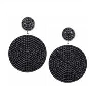 Gunmetal Plated/Black Micro Pave Disc Drop Earrings