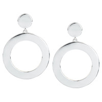 Rhodium Plated Coco Open Disc Drop Earrings