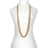 Yellow Gold Plated Lingerie Crystal Necklace Shown on Neck