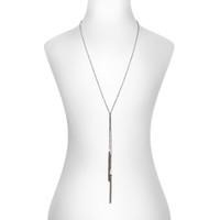 Gunmetal Plated Bella Tassel Lariat Necklace Shown on Neck
