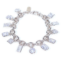 Rhodium Plated Encased Crystal Charm Bracelet
