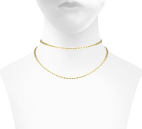 Yellow Gold Plated Double Mini Palette Choker Shown on Neck