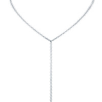 Rhodium Plated Mini Palette Lariat Close Up Detail