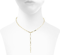 Yellow Gold Plated Mini Marcia Lariat Shown on Neck