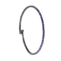 Gunmetal/Lavender 1 Line Crystal Wrap Bracelet