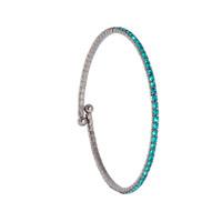 Gunmetal/Teal 1 Line Crystal Wrap Bracelet