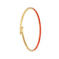 Yellow Gold/Orange 1 Line Crystal Wrap Bracelet