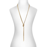 Yellow Gold Plated Cooper Knot Necklace Shown on Neck