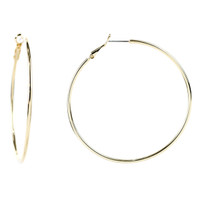 Yellow Gold Plated Extra Large Thin Round Hoop Earrings