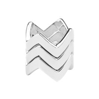 Rhodium Plated Set of 3 Chevron Rings Stacked