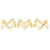 Yellow Gold Plated Set of 3 Chevron Rings Separated