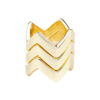 Yellow Gold Plated Set of 3 Chevron Rings Stacked