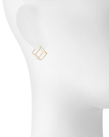Yellow Gold Plated Solid Cube Huggies Shown on Ear