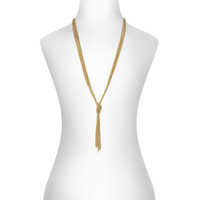 Yellow Gold Plated Slim Knot Chain Necklace Shown on Neck