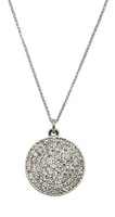 Rhodium Plated Large Pave Disc Necklace