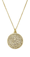 Yellow Gold Plated Large Pave Disc Necklace