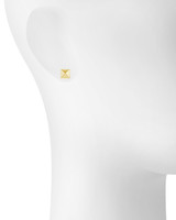 Yellow Gold Plated Small Solid Pyramid Stud Earrings Shown on Ear