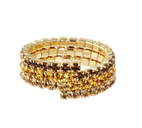 Yellow Gold Plated/Topaz Fade Triple Stretch Eternity Band